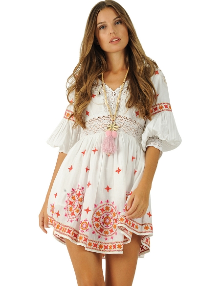 Foto Moda Hippie; Delhi Dress Blanco