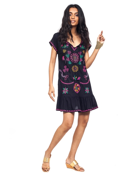 Picture of Náyade Black; embroidered hippie dresses