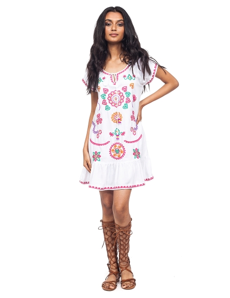 Picture of Náyade White; embroidered hippie dresses