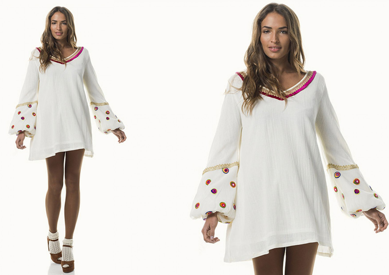 Vista delantera de Calypso Dress Beige, ideal vestido hippie chic.