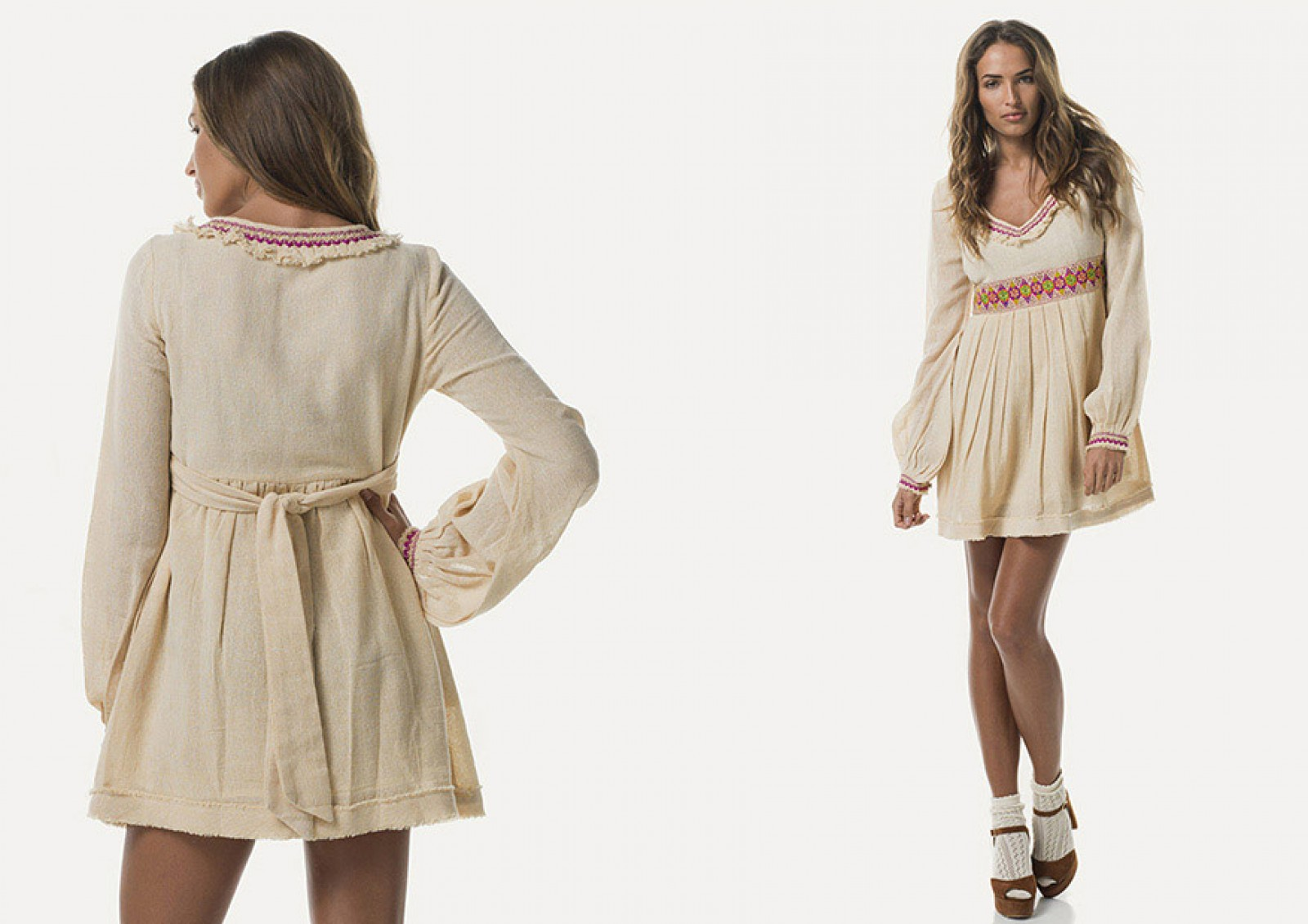 Vista delantera del Velvet Queen Dress Beige; ideal vestido vaquero floral.